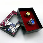 2pcs/lot Cosplay Black Butler Kuroshitsuji Ciel Phantomhive Blue + Golden Ring