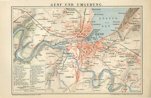 1895 SWITZERLAND GENEVA CITY and SUBURBS Antique Map