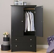 Wood Armoire Wardrobe Clothes Closet Bedroom Home Storage Cabinet Dresser Drawer