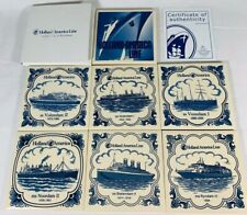 Lot of 7 Holland-America Cruise Line Collectible Delft Blue Coasters - Tiles