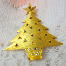 Stunning Signed De Nicola DENICOLA Gold Tone Christmas Tree Pin Brooch