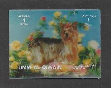 Dog Art Portrait Postage Stamp YORKIE YORKSHIRE TERRIER Umm Al Qiwain 3-D MNH