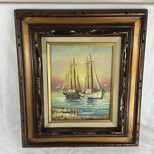 Signed Oil Painting Sail Boat Framed Wood Nautical Sea Ocean Gull Fish Fisherman