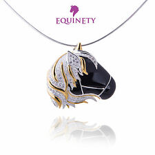 EquinEty Glitzy Black Sterling Silver Horse Necklace Equestrian Valentine Gift