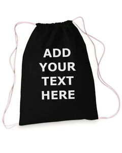 Custom Drawstring Bag Add Your Text Personalized Customized Gift Reusable Gym