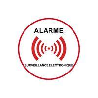 Autocollant sous vidéo surveillance alarme logo 5 5x5 cm
