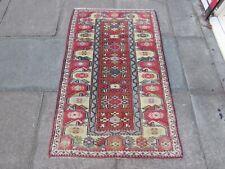 Vintage Traditional Hand Made Turkish Oriental Wool Brown Yellow Rug 150x93cm
