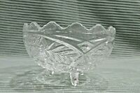 Old Clear Pattern Glass 4x7 Scalloped Edge 3 Leg Candy Dish Serving Bowl FREE SH