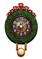 Animated Swinging Pendulum Christmas Wreath Holiday Quartz Wall Clock