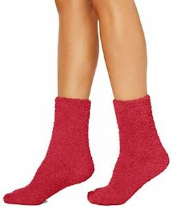 2 Pairs Charter Club Women's Fuzzy Butter Socks, Red, One Size