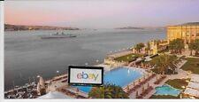 KEMPINSK CIRAGAN PALACE HOTEL ISTANBUL TURKEY POOLSIDE WITH YACHT POSTCARD
