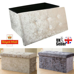 2 Seater Crushed Velvet Foldable Ottoman Storage Box Double Bedroom Foot Stool H