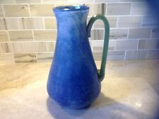 Murano Glass Blue Scavo Pitcher/ Vase with green handle