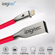 Heavy Duty Flat Lightning USB Charger Cable For Apple iPhone iPad