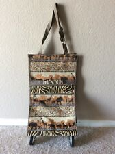 Jade Tapestry Safari Shopping Travel Tote Bag With Wheels Foldable Collapsible