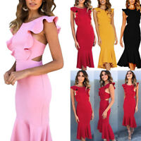 Women Elegant Formal Business Office Work Dress Midi Tunic Bodycon Party Dress