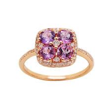 14K ROSE GOLD DIAMOND & AMETHYST HALO FLOWER COCKTAIL ENGAGEMENT RING
