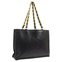 CHANEL CC Jumbo XL Chain Shoulder Tote Bag 3272314 Purse Black Leather R11797