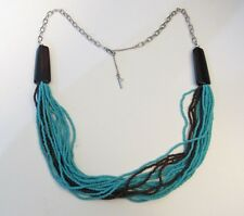 KENNETH COLE TURQUOISE & BROWN BEADED STRAND STATEMENT NECKLACE
