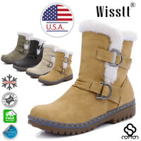 Women's Winter Ankle Boots Snow Fur Warm Insulated Waterproof Ski Shoes Size