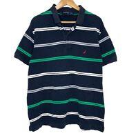 Nautica Striped Mens Polo Shirt Size XL Navy Blue