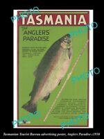 OLD LARGE HISTORIC PHOTO TASMANIA TOURISM POSTER ANGLERS PARADISE c1930