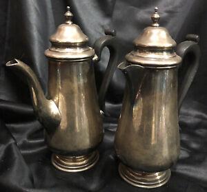 Pair Of Hecworth Sheffield Reproduction Coffee /Chocolate Pots Bakelite Handles