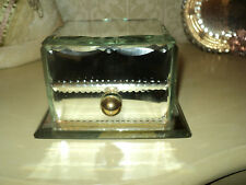 ANTIQUE FRENCH ETCHED MIRRORED CUT CRYSTAL GLASS JEWELRY BOX/DRAWER
