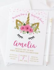 10 PERSONALISED UNICORN FIRST BIRTHDAY INVITATIONS OR THANK YOU CARDS
