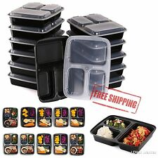 10 Meal Prep Containers Plastic Food Storage Reusable 3 Compartment Lunch Box