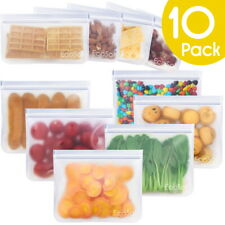 Reusable Food Storage Bags - Sandwich & Snacks - 10 Pack Leakproof Air-Tight
