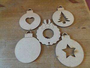 Wooden MDF Christmas Decorations Embellishment craft Blank - Set of 5