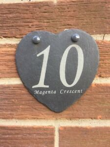 Personalised Heart Shaped Slate House Number/Name Door Sign Plaque
