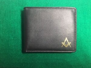 Wallet, Black leather with Square & Compass embossed