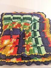 VTG! Handmade Crochet Knit Striped/Braided Rainbow Afghan Boho Hippie 70sBlanket