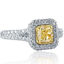 1.32 Ct Cushion Cut Yellow Diamond Engagement Ring Split Shank 18k White Gold