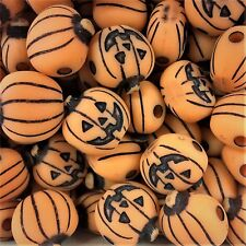 10 x Orange Halloween Pumpkin Charms, Plastic Charms Baby Shower, Dummy Clips