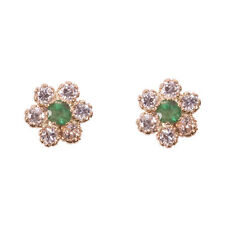 9ct 9 CARAT GOLD CZ + EMERALD CLUSTER STUD EARRINGS, New