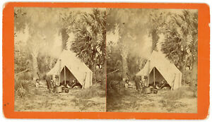 WHITE MEN CAMPING BLACK YOUTH TENDS STOVE FLORIDA STEREOVIEW WILSON, SAVANNAH GA