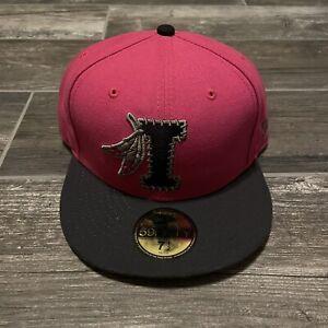 NEW ERA MILB INDIANS PINK BLACK FITTED CAP BASEBALL HAT 7 1/2