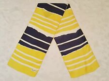 SCARF ITALY VINTAGE AUTHENTIC SYMPHONY STRIPED ART YELLOW BLUE SILK LONG MEN'S