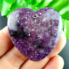 Natural Purple Lepidolite Stone Love Heart Pendant Bead 40x6mm WZYM1