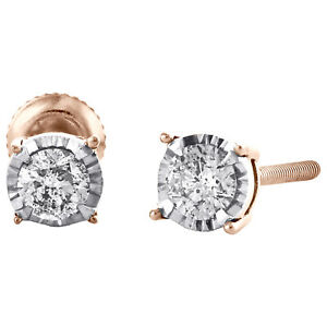 10K Rose Gold Round Cut Diamond 4 Prong Stud 4.25mm Miracle Set Earrings 1/4 CT
