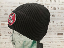 DIESEL Turn-up Beanie K-TIN Ribbed Hat Badge Black Cotton Mix Cap BNWT RRP£40