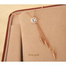 18K Gold Plated Fashion Tassels Arrow Pendant Trendy Necklace Yellow Gold Colour