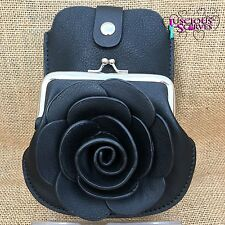 Black Rose Purse Small bag with Mobile Phone Spectacles Holder Long Strap
