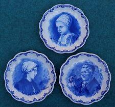 Vintage 3 Pcs Dutch Delft Holland Porceleyne Fles Wall Charger Plate Blue White