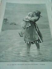 Gravure 1879 - Petites filles sur la plage de Scheveningue