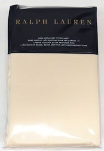 Ralph Lauren Home King Extra Deep Fitted Sheet 78 x 80 Sateen Cream NEW $185