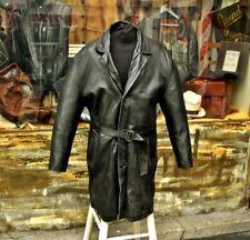 254c56ea5a07c4 Cappotto impermeabile pelle monopetto nero vintage anni 70 originale taglia  XL